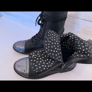 Shoes - Black Sequined Combat Boots